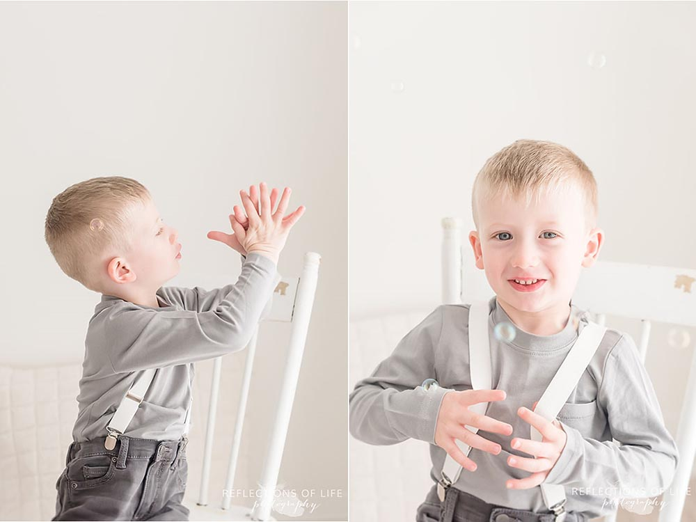 niagara child photography little boy catching bubbles