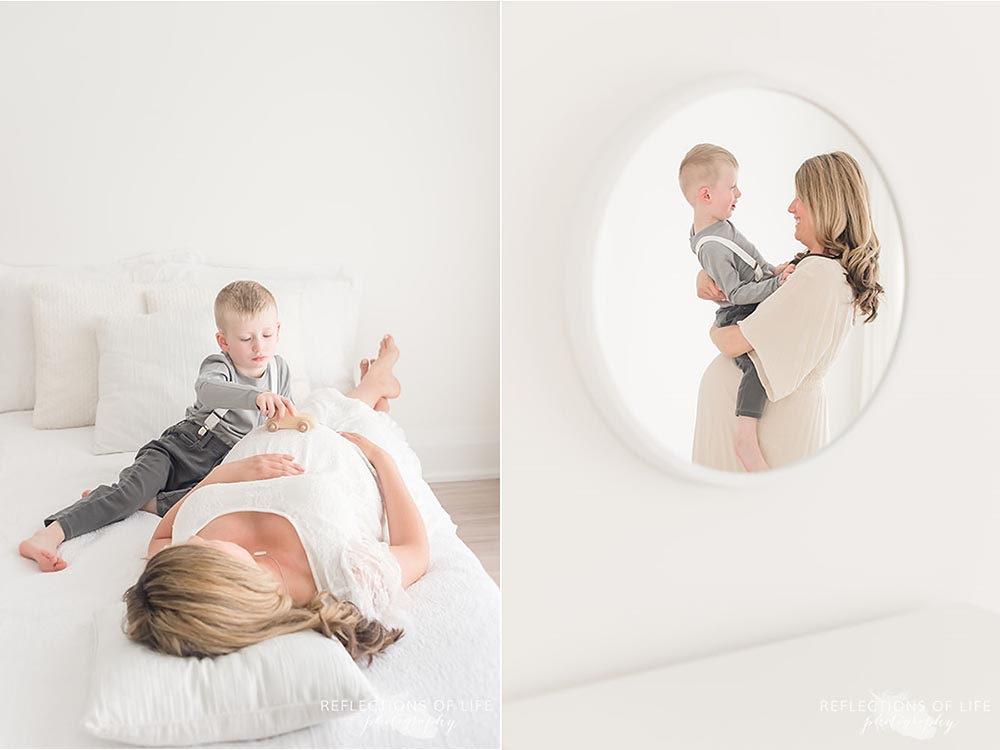 Mother and son portraits while pregnant in Grimsby Ontario