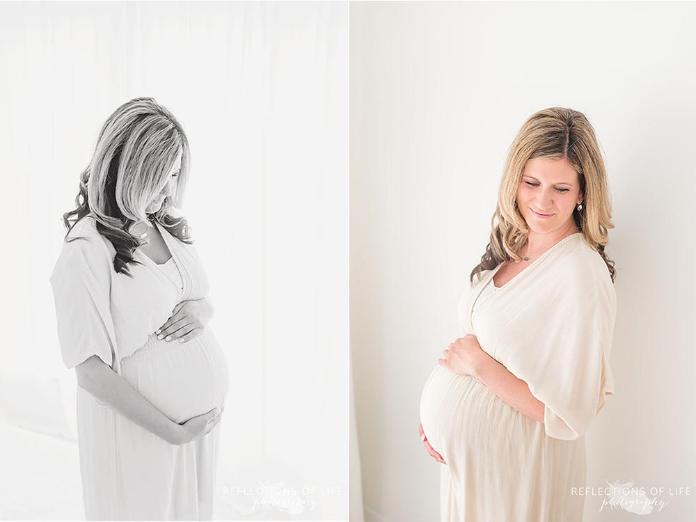 Expecting mom dressed in cream flowy gown from Forever 21