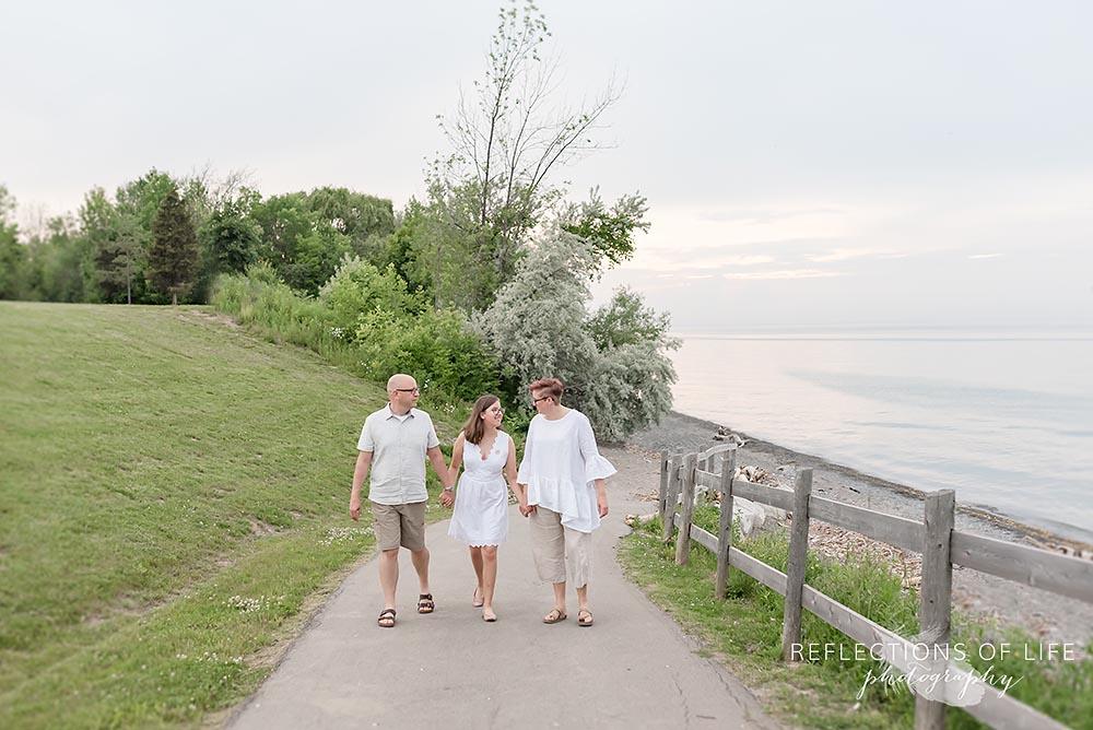 Famliy walking near the beach in Grimsby Ontario Canada
