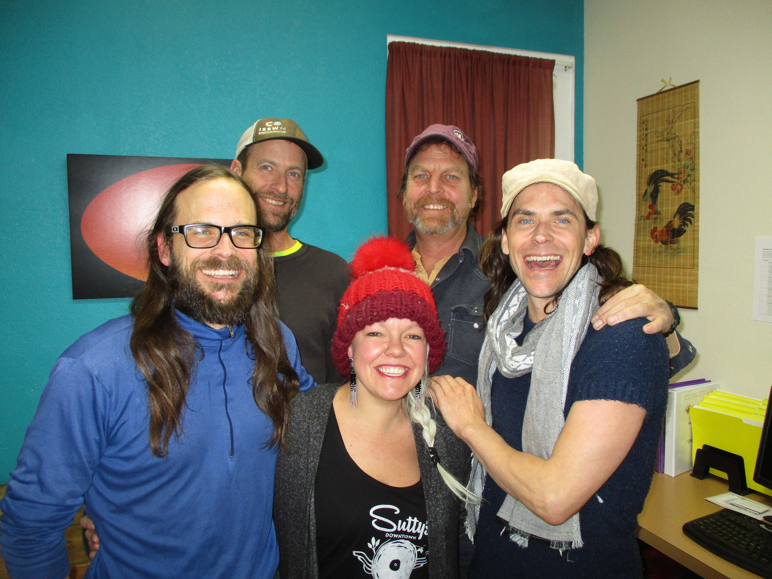 Pictured from left: George Mossman, Aaron Robbins, Lindsay Sutton-Stephens, Bones, Peter Mossman