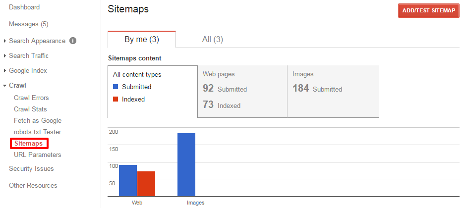 submit sitemap through google's search console in webmaster tools