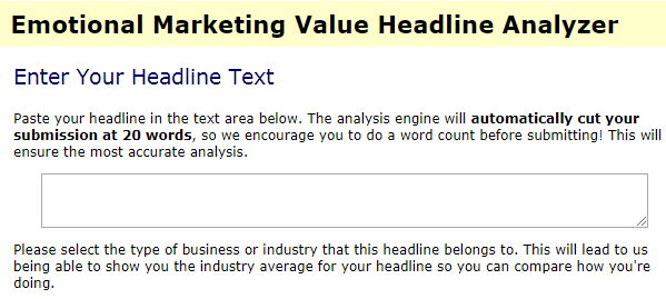 Emotional Marketing Value Headline Analyzer