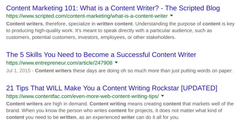 Google Top Ranking Content