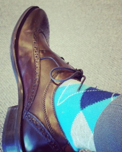 Argyle crew from   Express   in aqua is guaranteed to earn you a second glance
