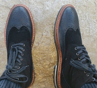These two tone leather and suede wingtip boots by   Robert Wayne   are rugged yet stylish