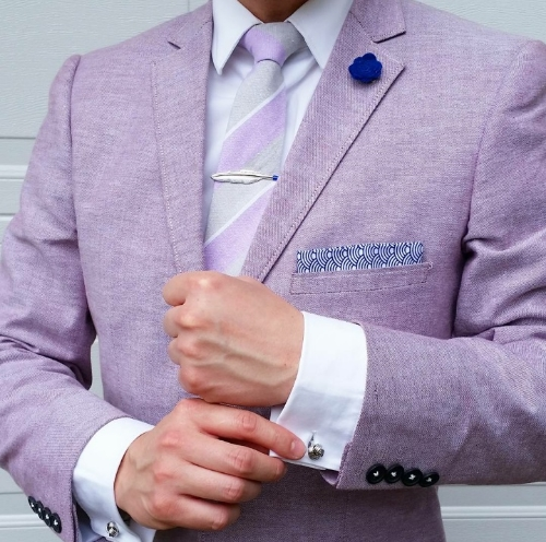 The accessories from May's box match perfectly with this crisp, white, French cuff shirt and linen jacket in lilac.