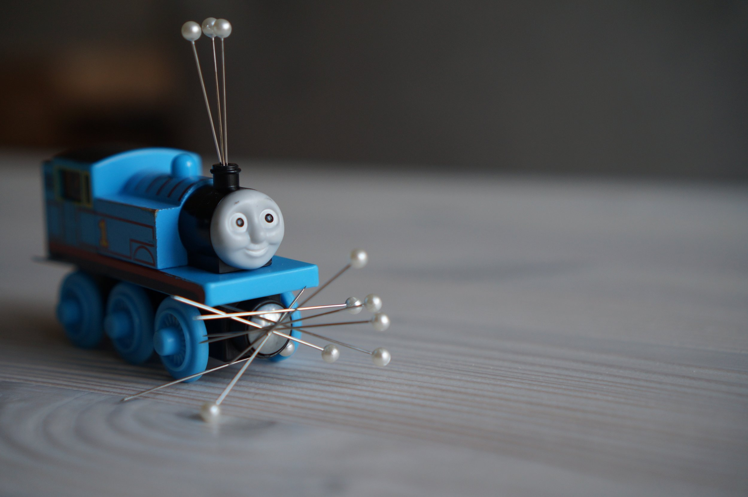 Thomas doubles as a pin cushion.
