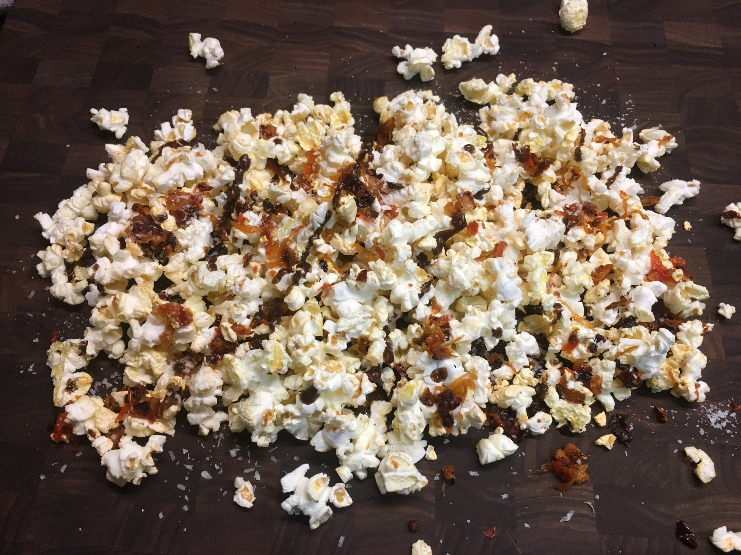 Warm balsamic popcorn. Greens omitted to placate threenager.
