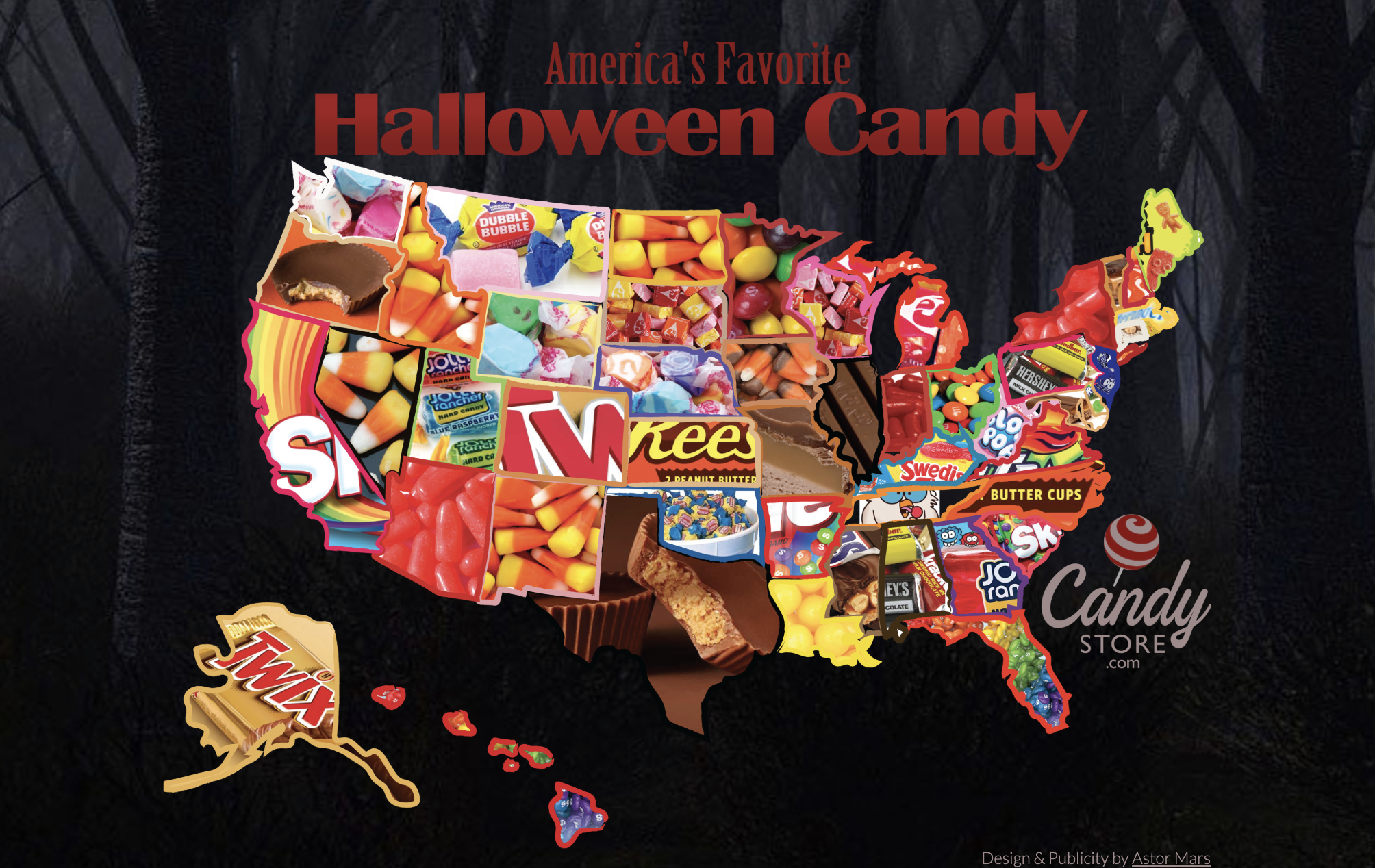 The most popular Halloween candy by state, 2007-2018 |  CandyStore.com