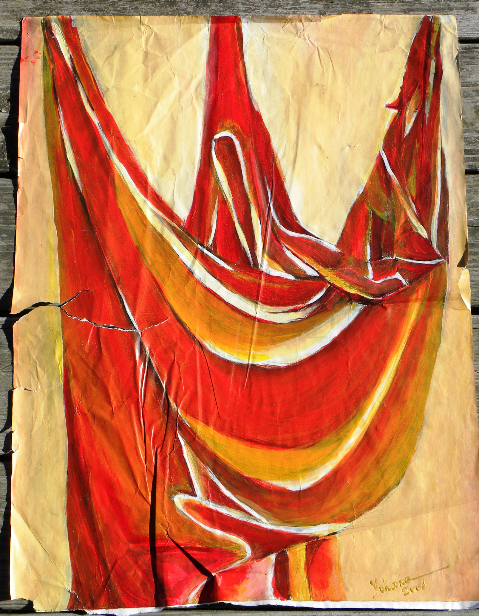 Sacred Cradle, 2001, acrylic on paper,25x36in