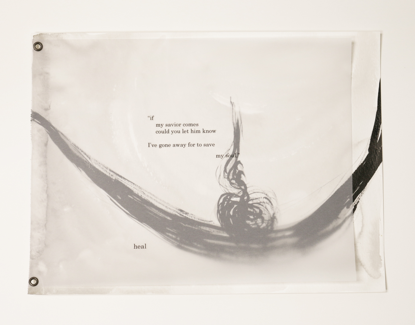 """Graced in Sacred Ground: The Hour of Forgiveness,"" 2015, poems by Nicole De Leon, paintings by Yohana Junker, ink on paper, 15x10in"