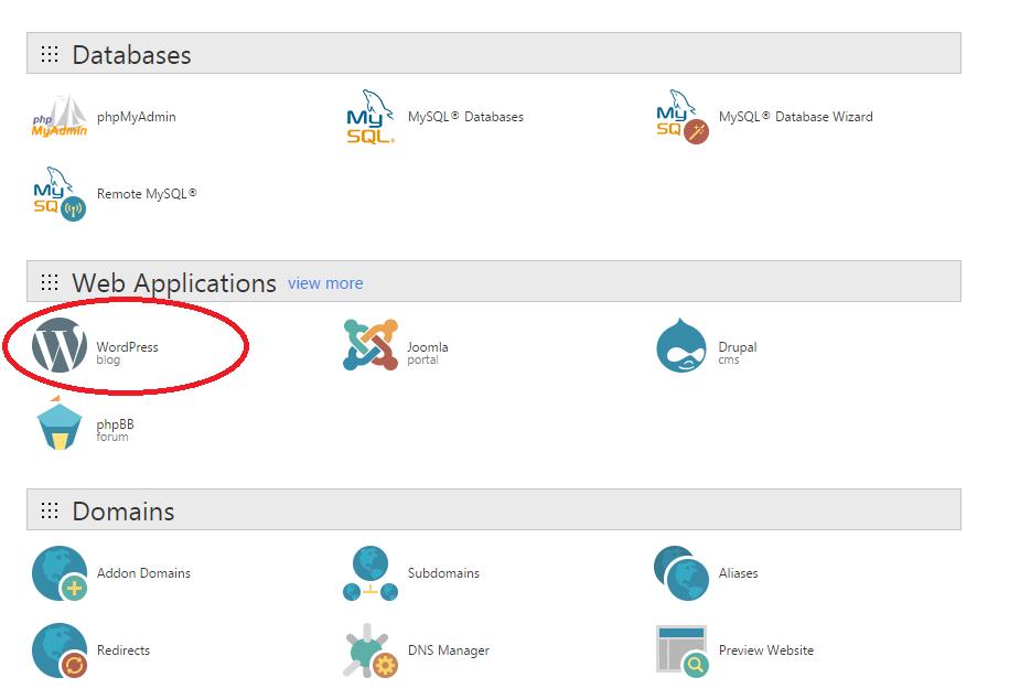 Click On Wordpress Under Web Applications