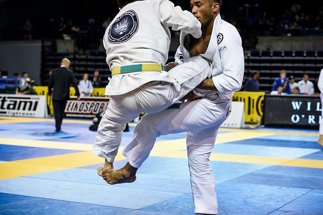 James Manibusan foot sweep off the single at the Pan Jiu Jitsu Championship. Photo: Mike Calimbas