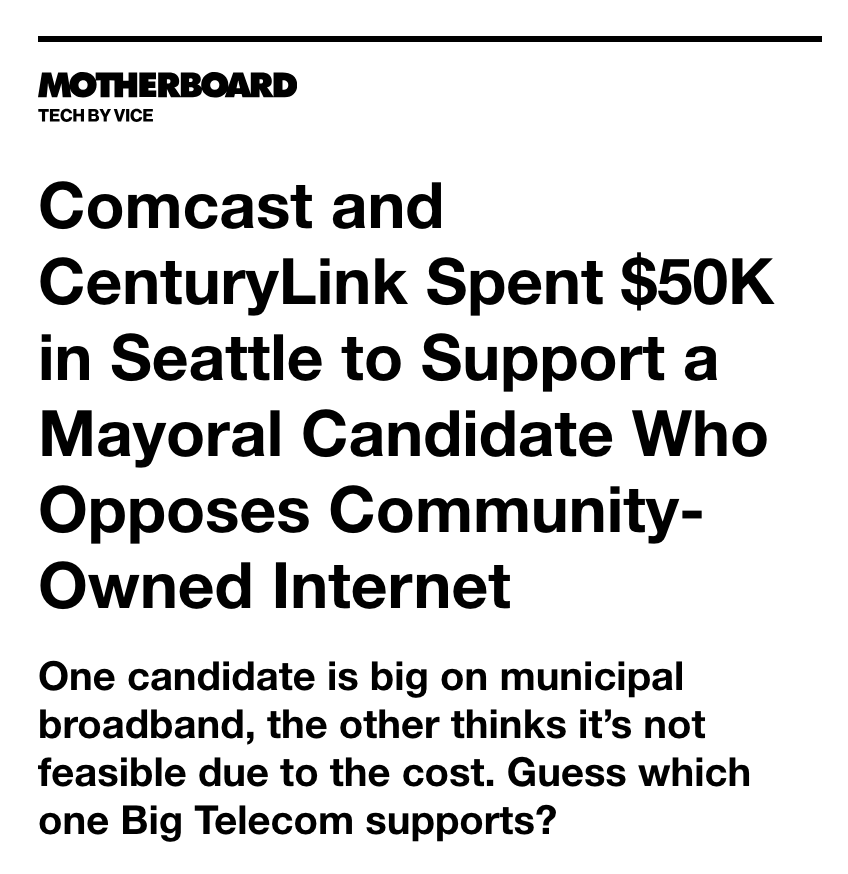 Like dozens of other cities across the country, Seattle is currently in the midst of a mayoral race. But unlike some others, this election has drawn the attention of Big Telecom, with CenturyLink and Comcast forking over more than $50,000 combined to a political action committee that's campaigning for one candidate:  (read more) .