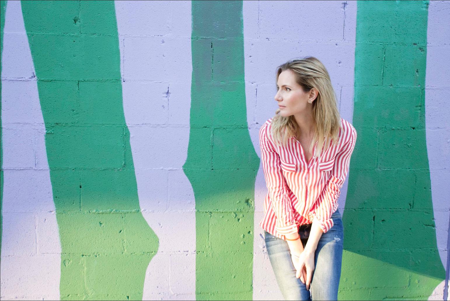 Zara white and red shirt // Zara jeans