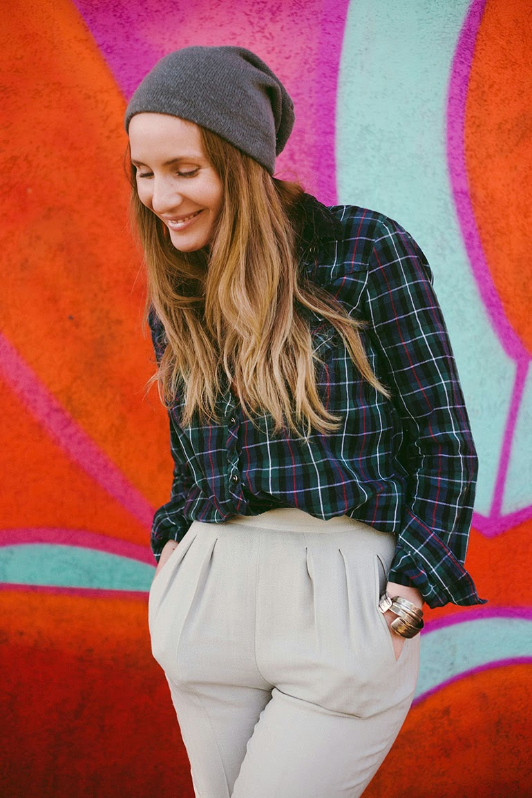 Wearing a River Island plaid shirt with wool pants // similar  here