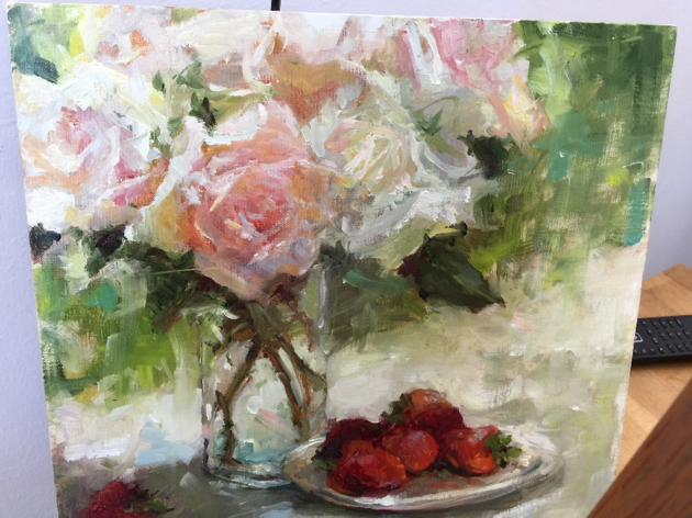 Barbara brings her love of painting en plein air indoors to the studio where she focuses on light and shadow and on composition. She taught a congenial group of eight painters, some new to oils and some seeking improvement of their painting skills, and all returned home inspired to create better art and appreciative of their learning experiences.