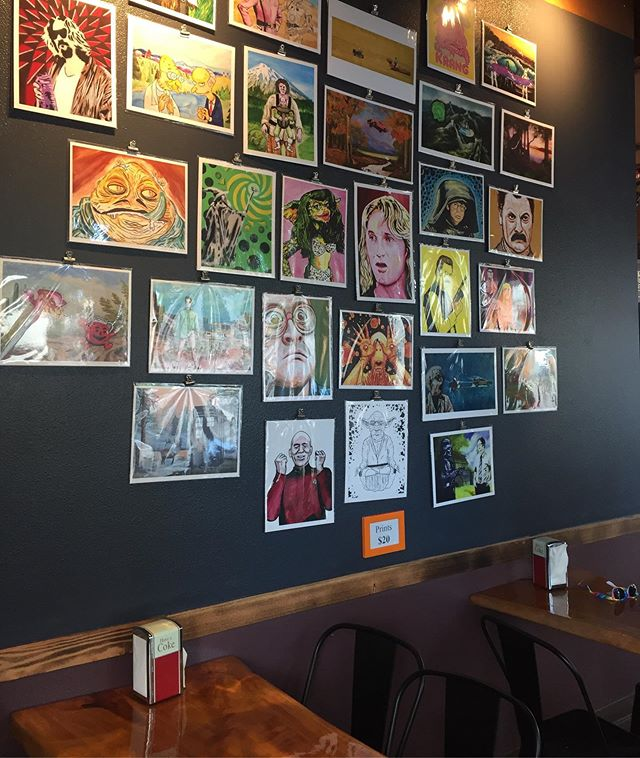 We love seeing our artists friends in the wild! @daveryanpopart has prints at Fritz European Fry House in Bremerton, WA, stop by for some lunch and grab a $20 print. #vioureliveingalleries . . #staywithvioure #travelwashington #washingtonartists #seattlesummers