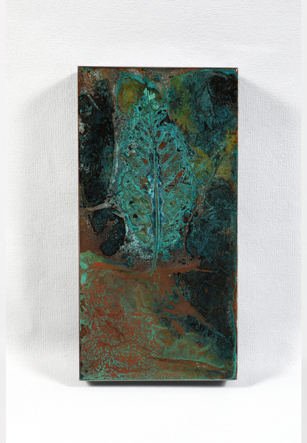 "Unknown Path #635 | Abstract verdigris on copper | 6"" x 12"""