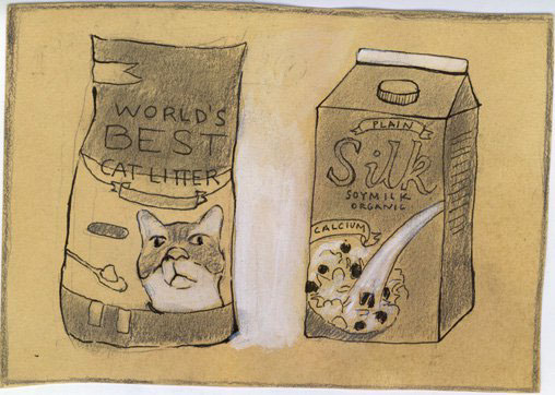 """Soy milk and cat litter."" -John Kieltyka"