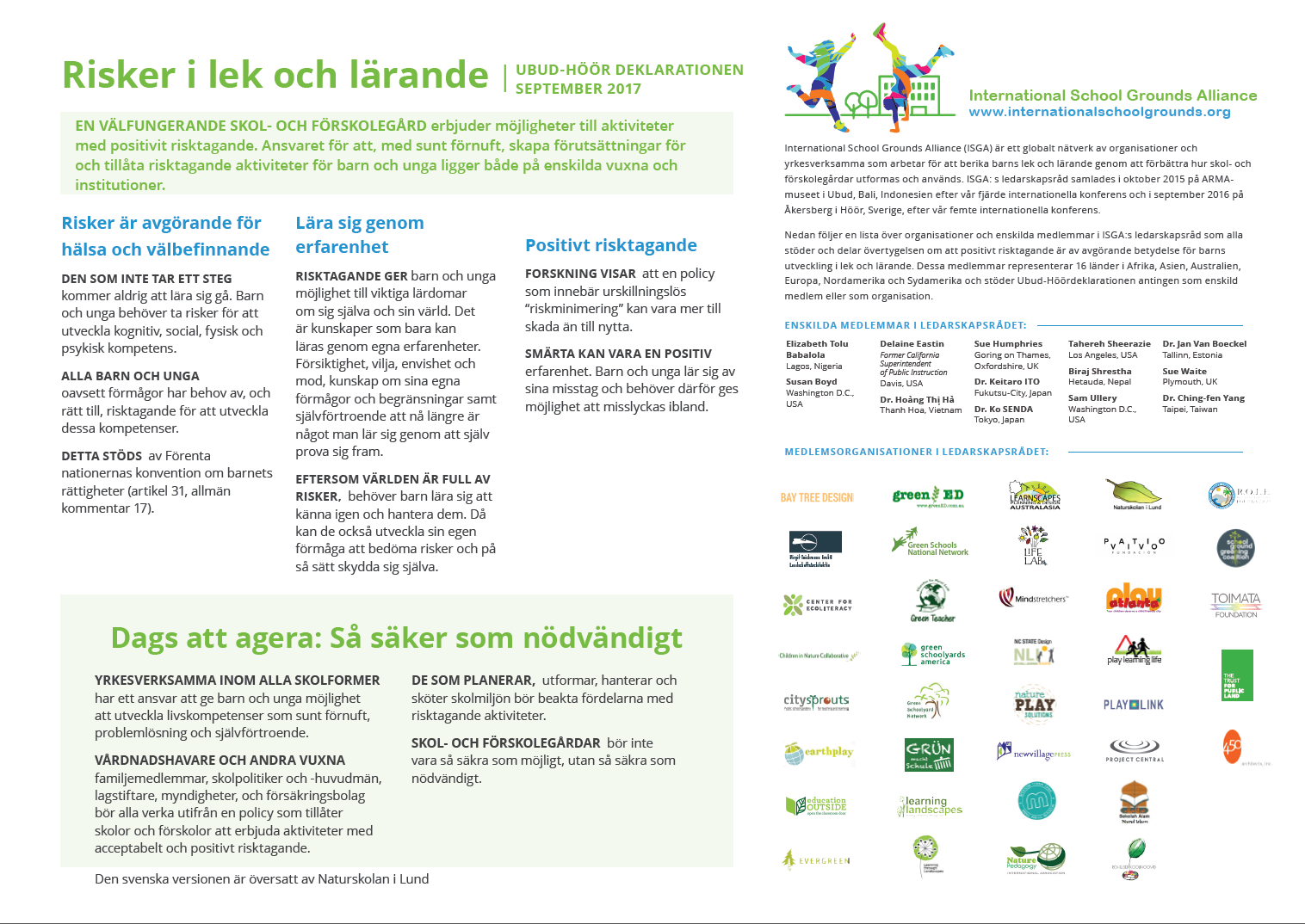 Click here to download the Declaration in Swedish / Svenska.
