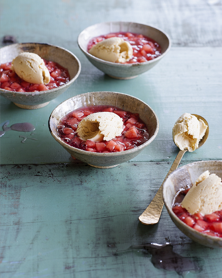 Watermelon in rosewater sauce with peanut ice-cream