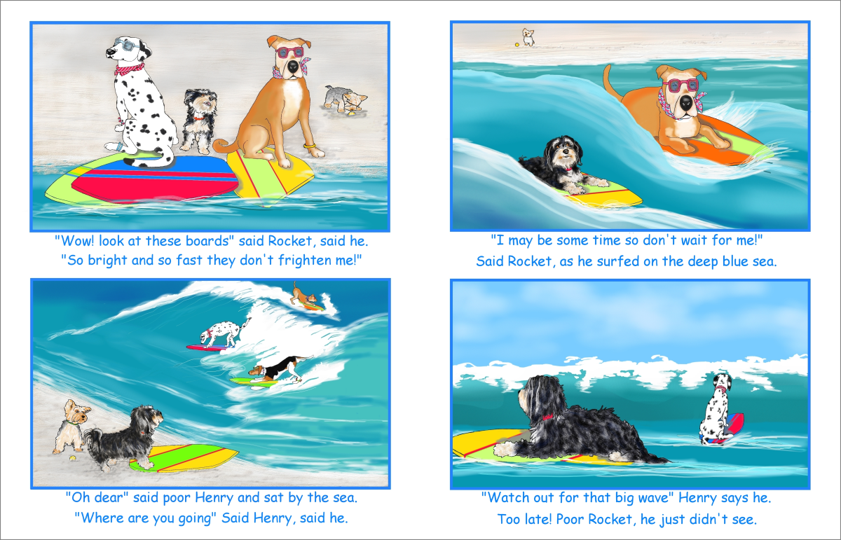 Elizabeth Martin Henry and Rocket Pg 6 Surfing