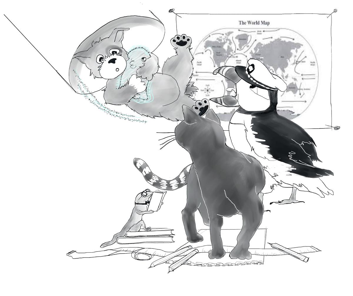 Woof Arriving On Submarine, Illustration by Elizabeth B Martin