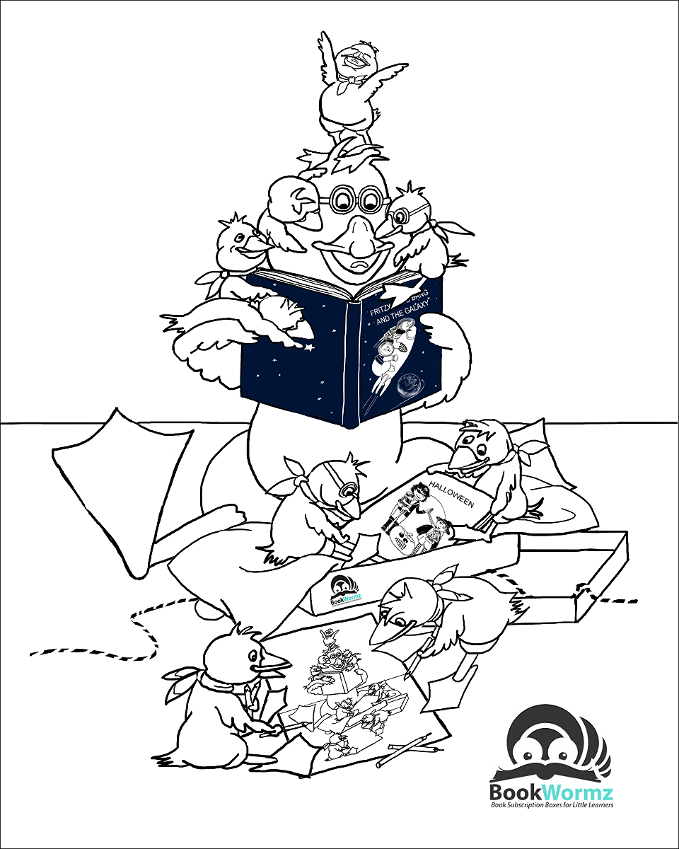 Bookwormz June Coloring Page, by Elizabeth B Martin