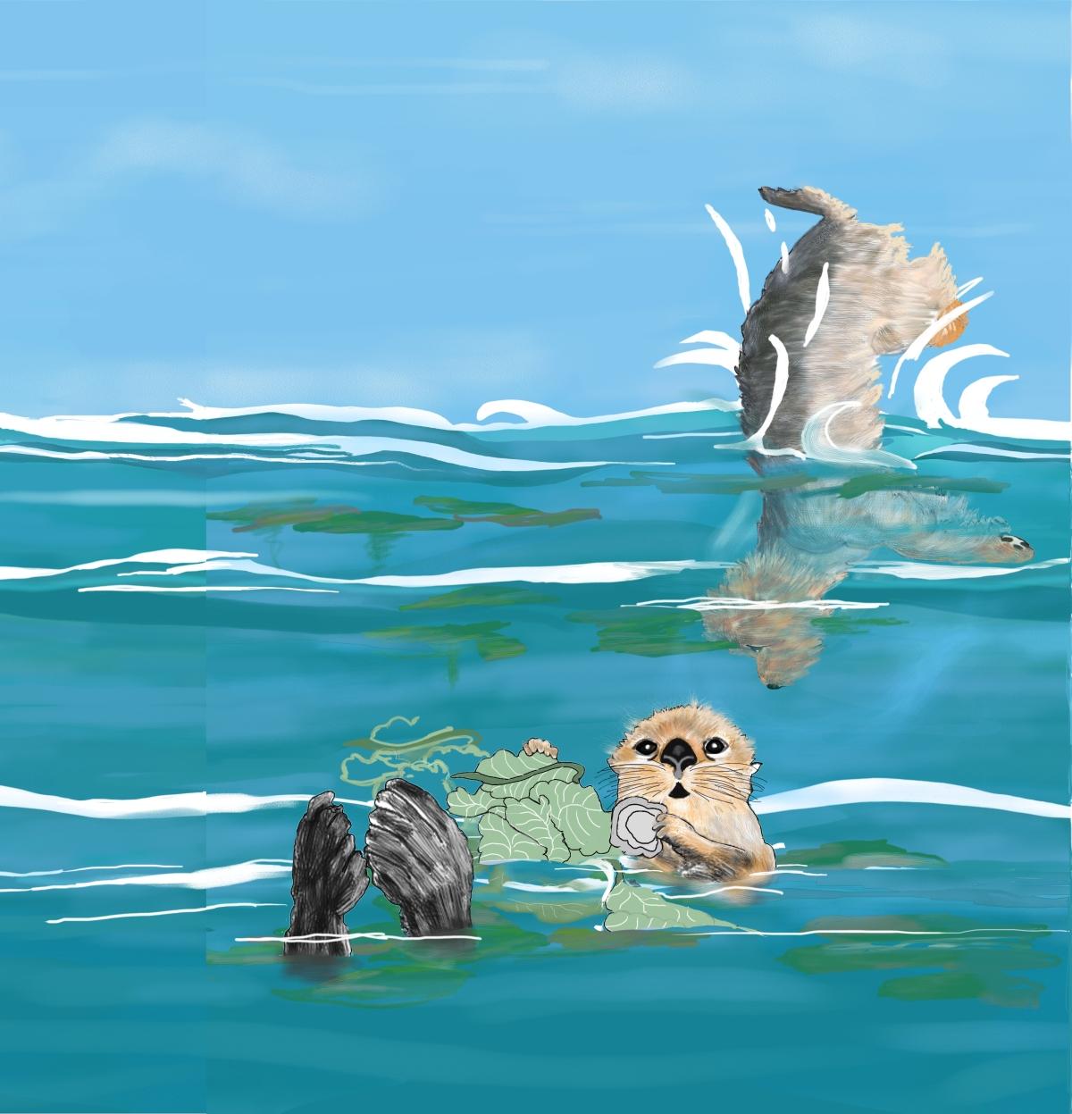 Duddley Jumping Into Monterey Bay, by Elizabeth B Martin