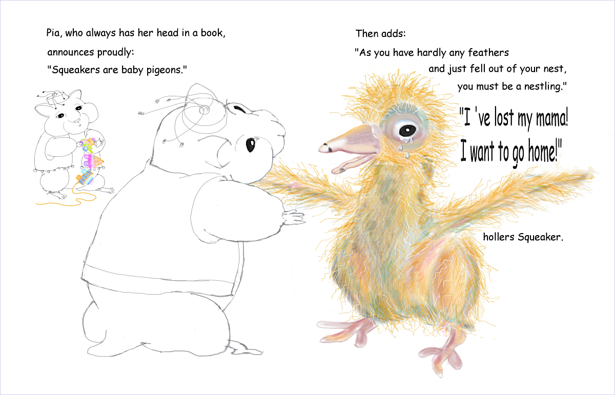 Peter and Pia Pocus p 14-15 baby pigeon