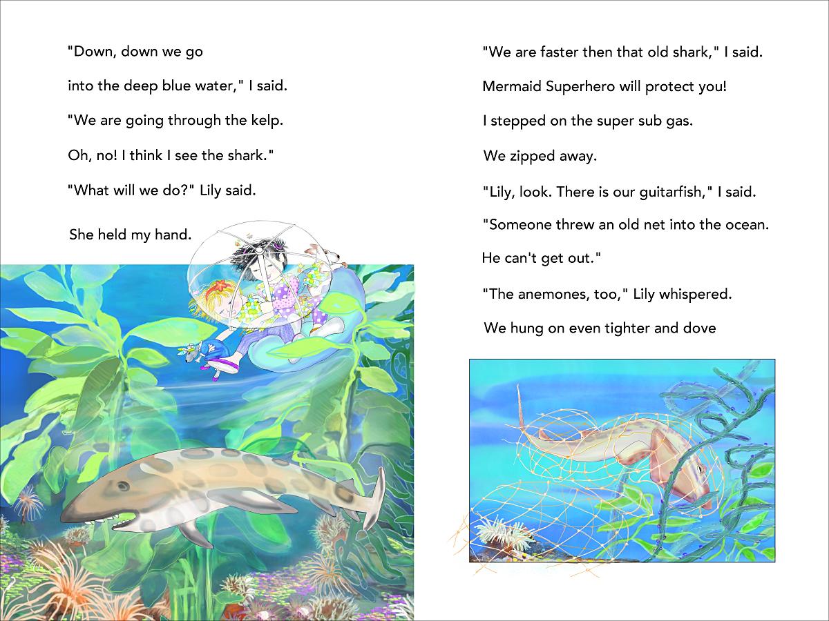 Mermaid Superheroes p 42-43 through the kelp