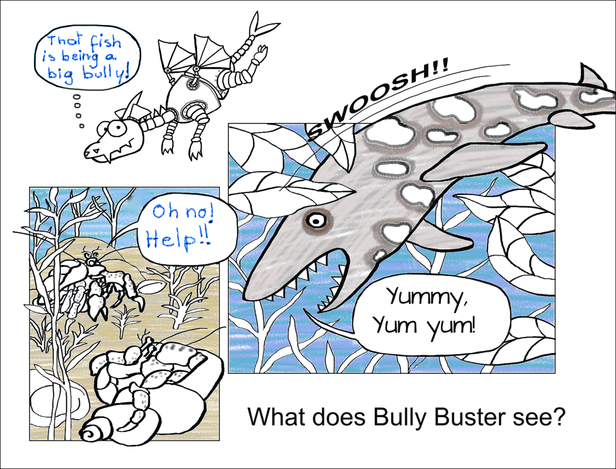 Page 1 of BULLY BUSTER AND THE CRAB Color and Write Story
