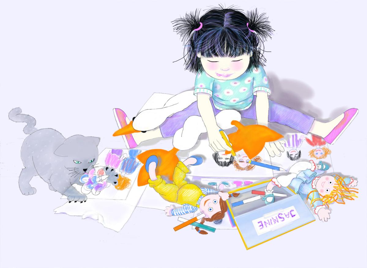 Jasmine and Boo, Illustration by Elizabeth B Martin