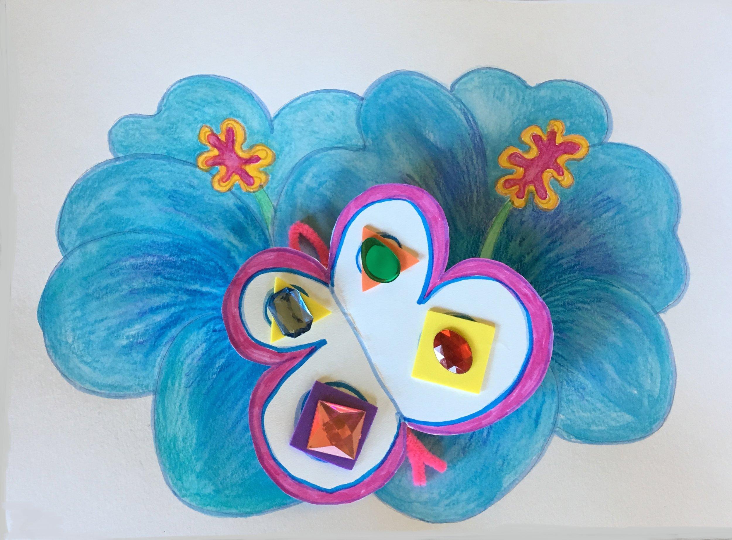 ART WITH ELIZABETH BUTTERFLIES FLOWERS 1