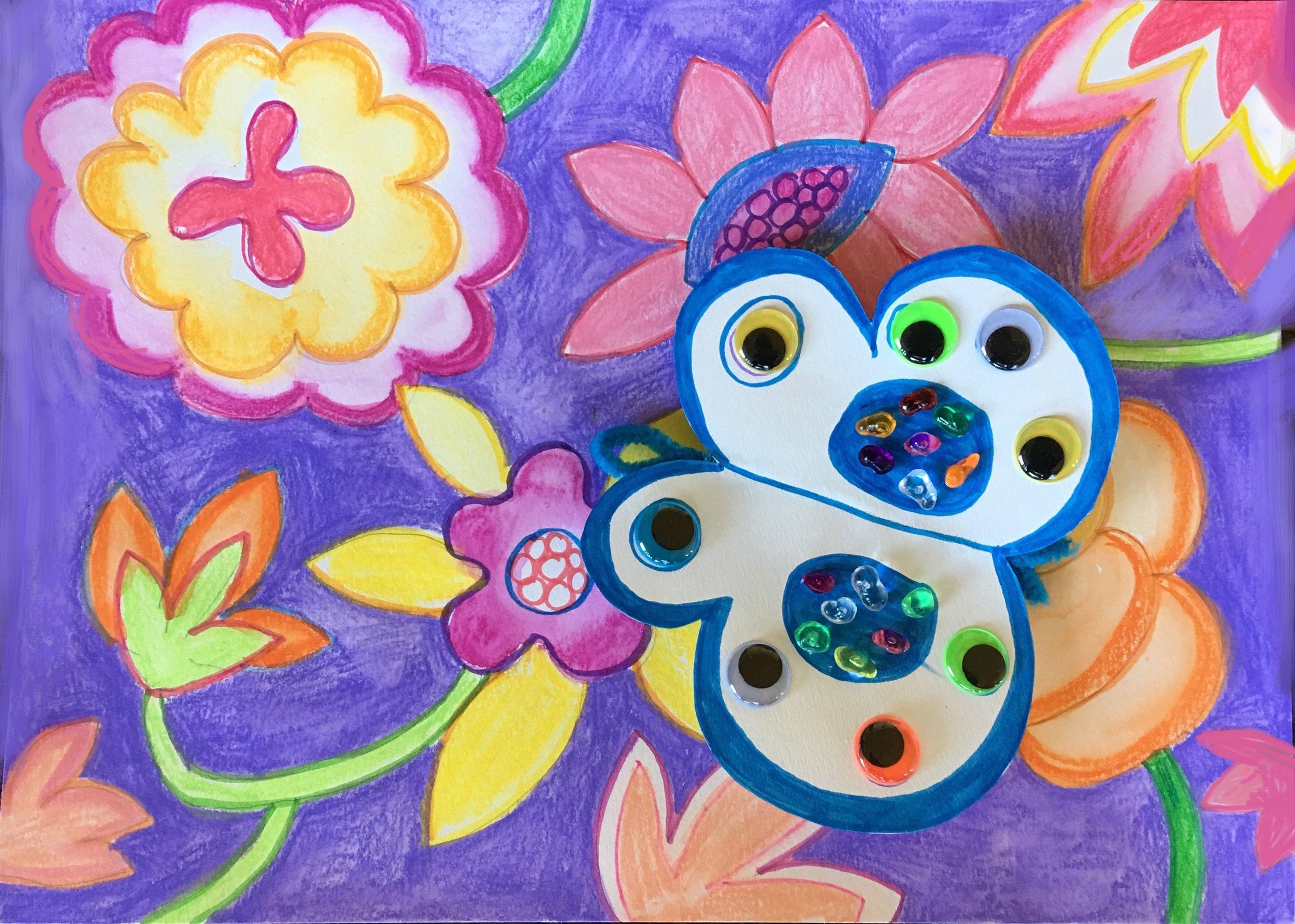 ART WITH ELIZABETH BUTTERFLIES FLOWERS 2