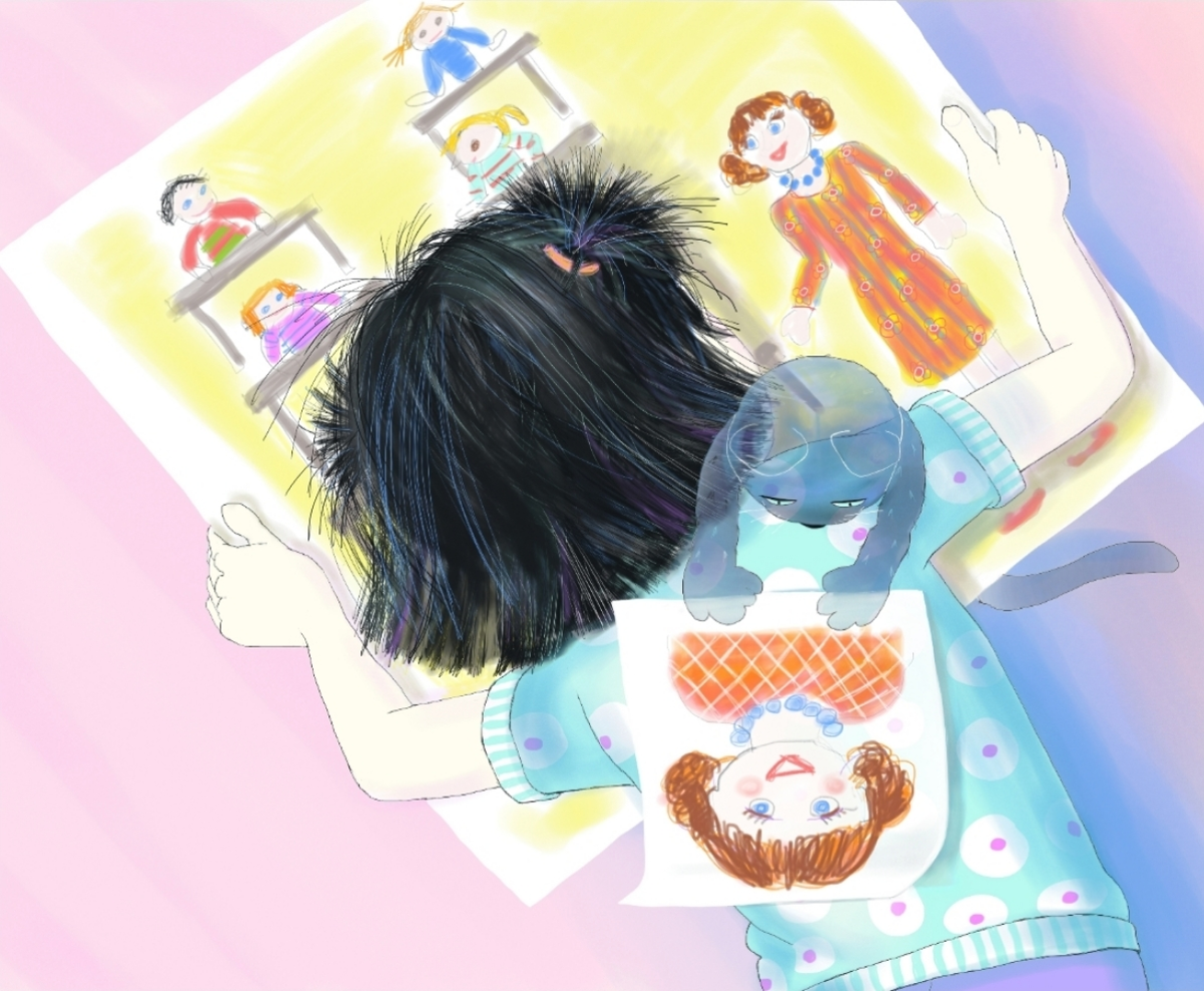 Jasmine and Boo lay out school drawings, Illustration by Elizabeth B Martin