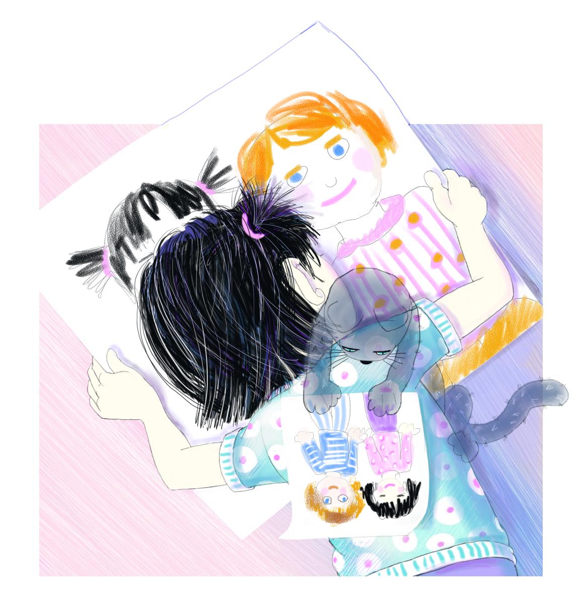 Jasmine draws future best friends, illustration by Elizabeth B Martin