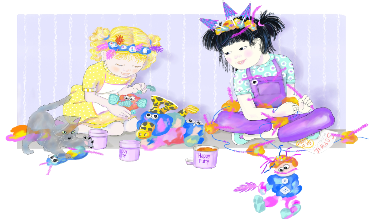 Jasmine, Boo, and Sophie with Happy Putty, illustration by Elizabeth B Martin