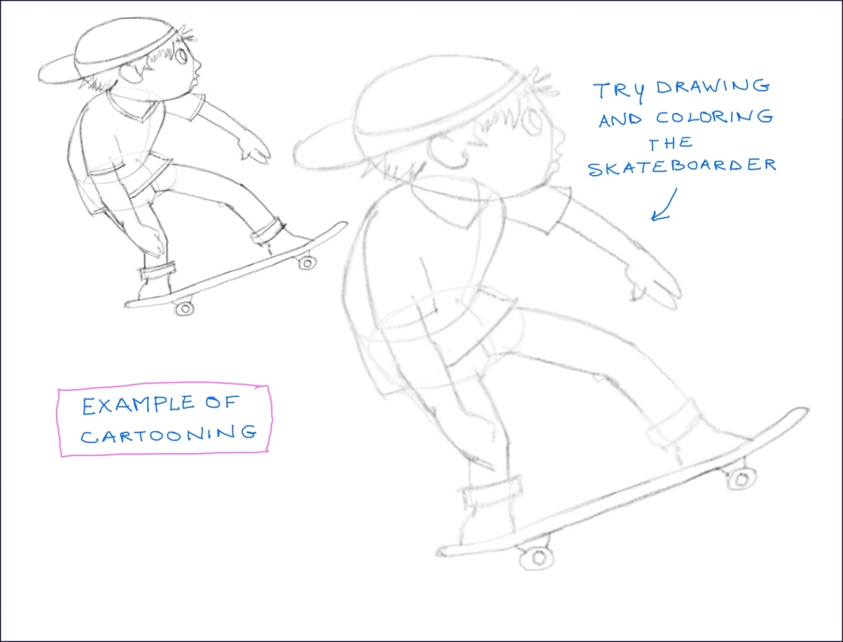 Skateboarder Cartoon tutorial, by Elizabeth B Martin
