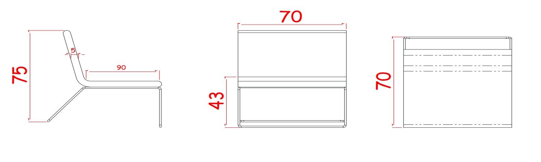 Height: 750mm             Width: 700mm             Depth: 700mm              Seat Height: 400mm               Seat Depth: 900mm