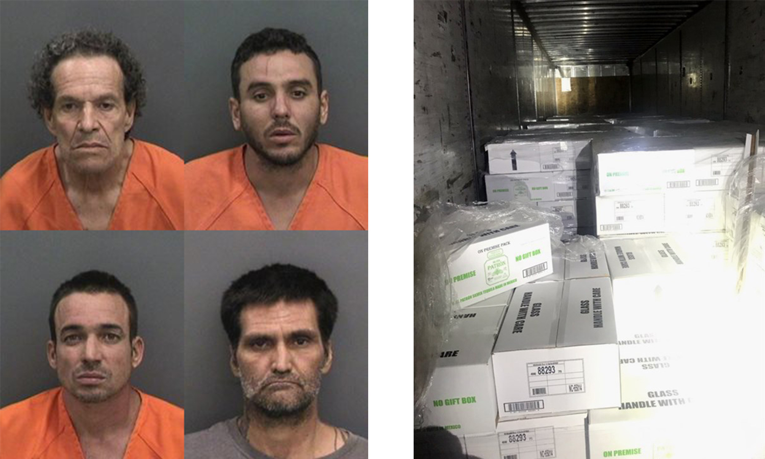 Four men were arrested on New Year's Eve in Florida for stealing over $500K worth of Tequila. HCSO photos.