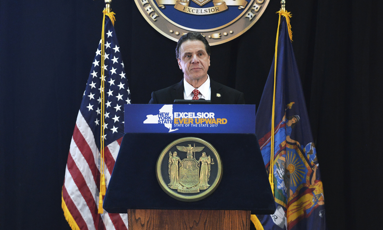 """New York Governor Andrew Cuomo speaking at New York's """"State of the State"""" Address on Jan. 10, 2017 (photo credit: U.S. Air National Guard Photo by Staff Sgt. Christopher S. Muncy)."""