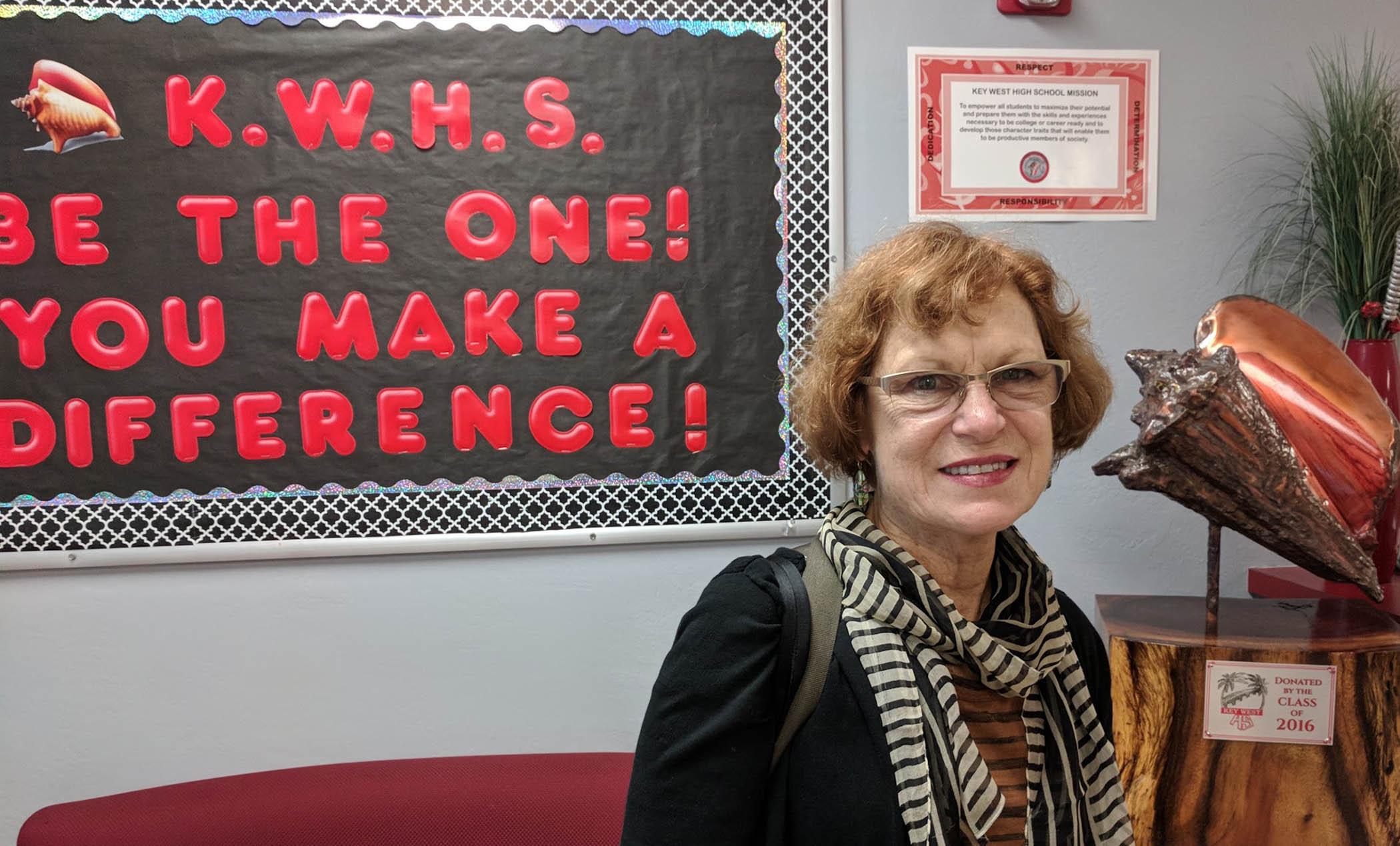 Annie abut to speak at Key West High School in March, 2018.