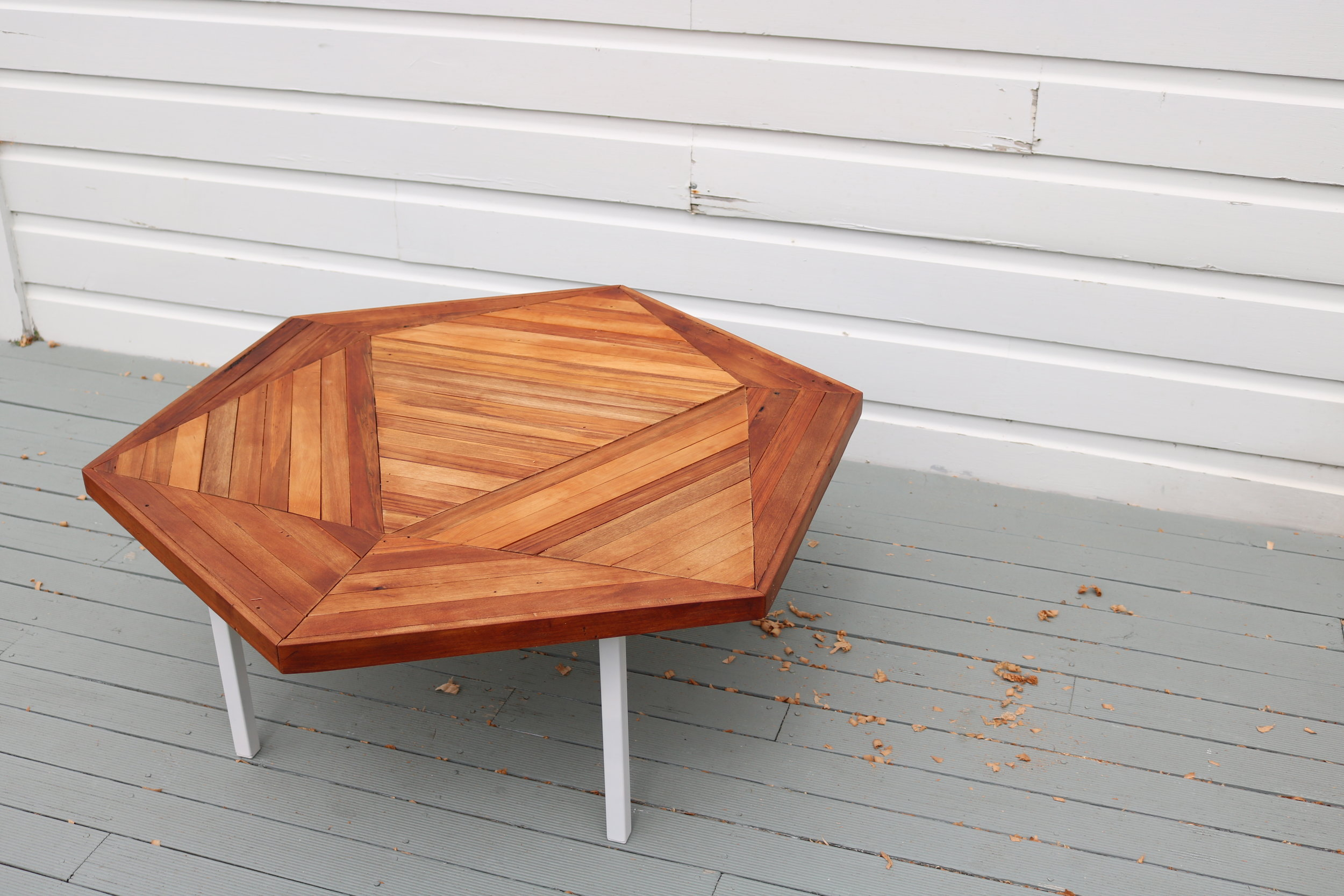Recycled rimu dodecahedron coffee table
