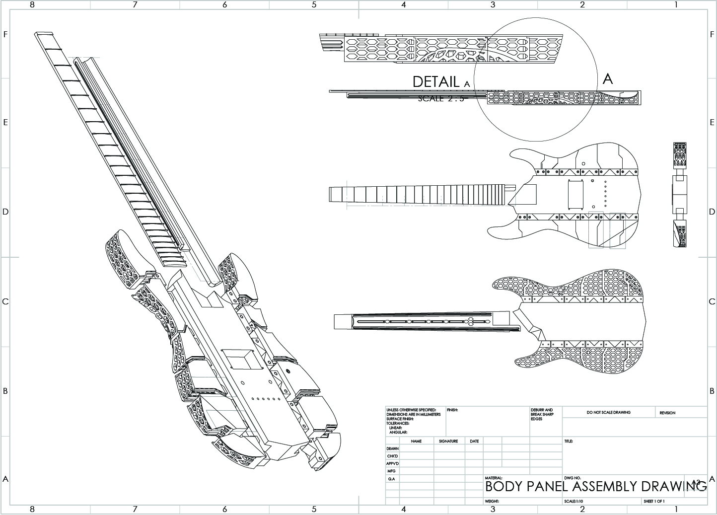 working CAD drawing of an experimental 3d printed guitar