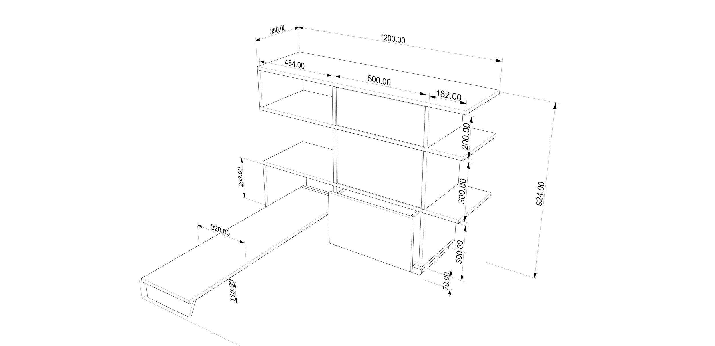 CAD drawing for wardrobe unit