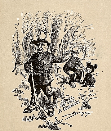 Clifford Berryman's 1902 cartoon that lampooned T.R.'s bear hunt