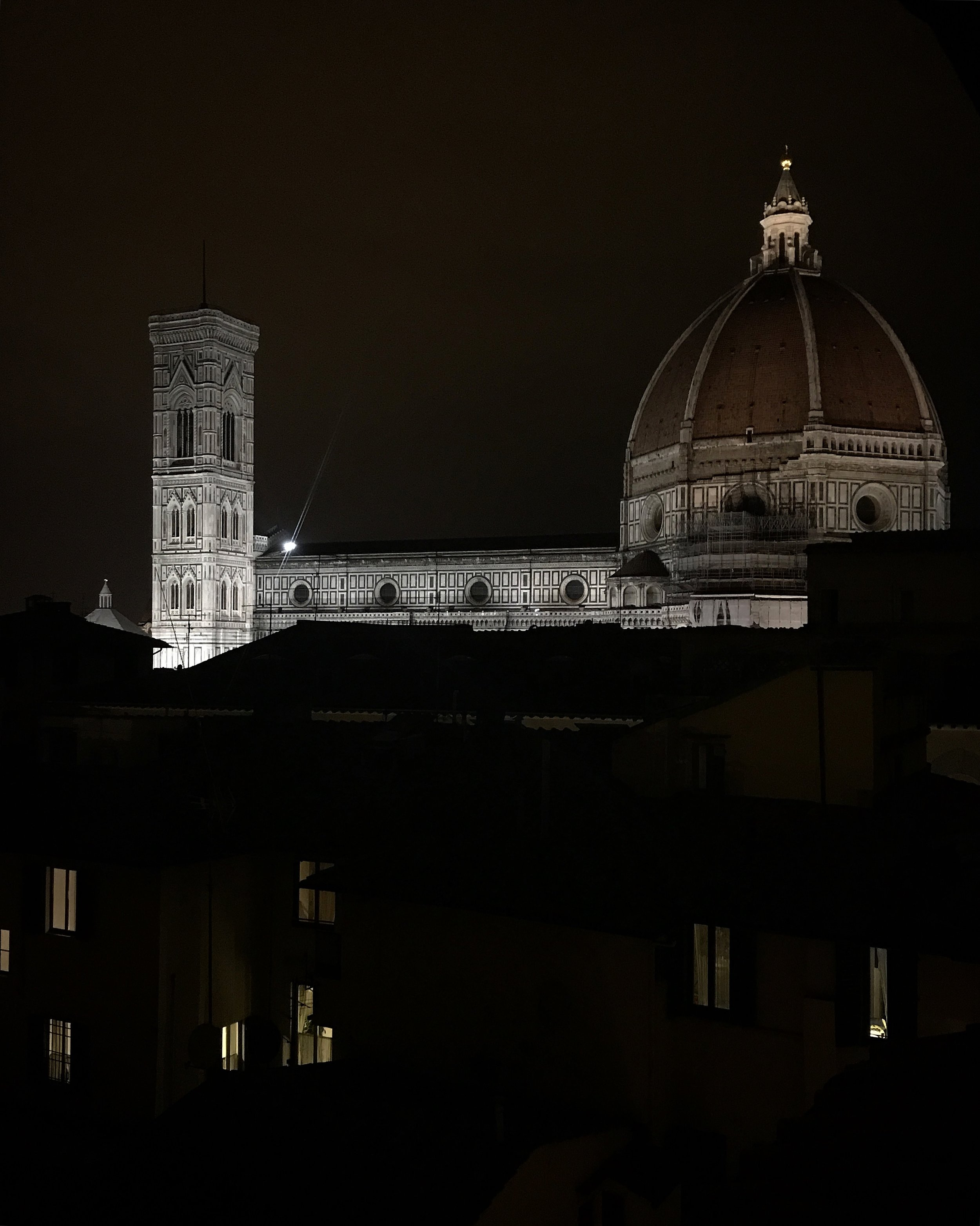 Duomo Firenze at night from the rooftop of the Hotel Grand Cavour